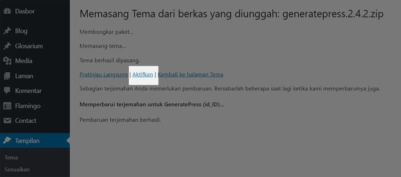 Memasang Tema WordPress